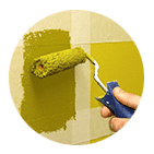 a professional panting a wall