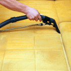 a staff cleaning upholstery